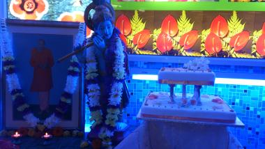 Shrine and Pujye Swamiji's Birthday Cake