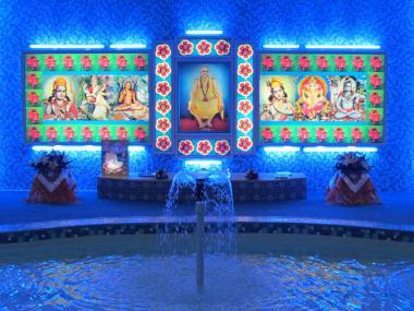 Shrine at Sivananda Ghat with Ganga Fountain