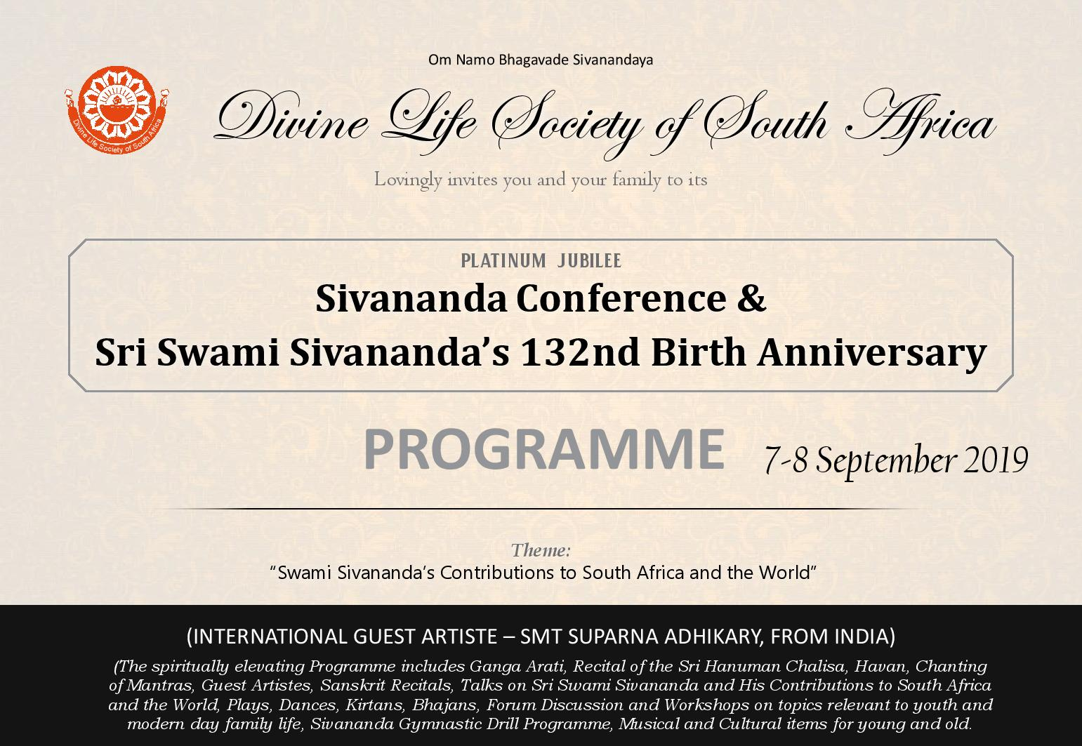 Sivananda Conference Programme 1 page 001