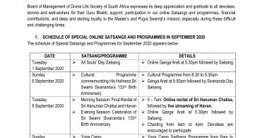 Online Satsangs in September